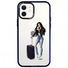 Woman Black Haired With Baggage iPhone 12/12 Pro Tok