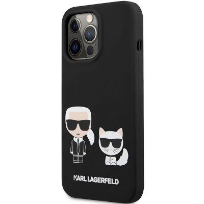 Karl Lagerfeld and Choupette Liquid Silicone Black iPhone 13 Pro Tok