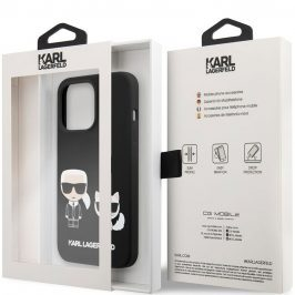 Karl Lagerfeld and Choupette Liquid Silicone Black iPhone 13 Pro Max Tok