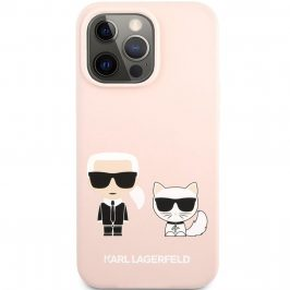 Karl Lagerfeld and Choupette Liquid Silicone Pink iPhone 13 Pro Max Tok