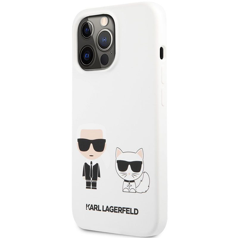 Karl Lagerfeld and Choupette Liquid Silicone White iPhone 13 Pro Tok