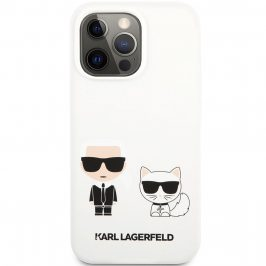 Karl Lagerfeld and Choupette Liquid Silicone White iPhone 13 Pro Max Tok