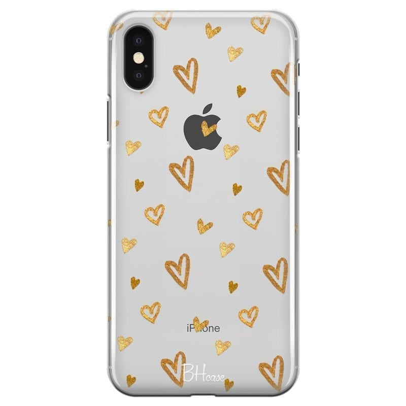 Golden Hearts Coque iPhone XS Max