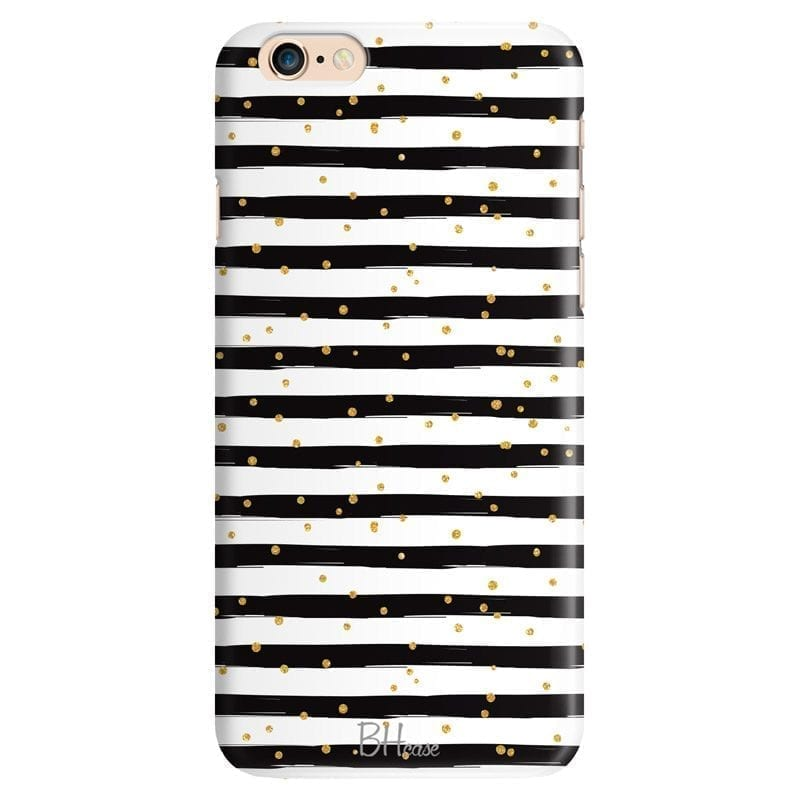Stripes Gold Black White Coque iPhone 6/6S