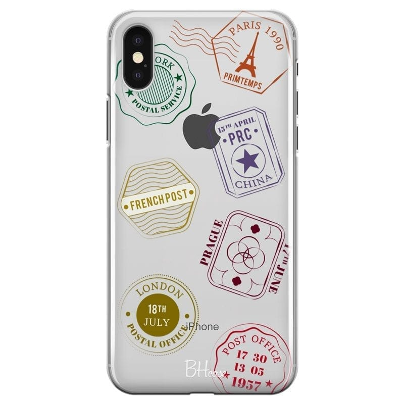 Travel Stamps Coque iPhone XS Max