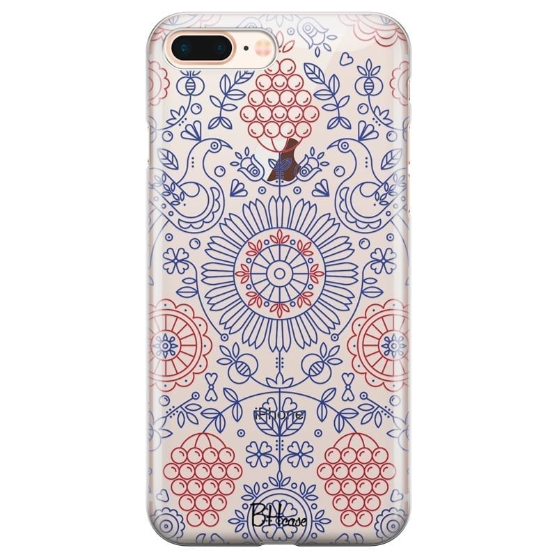 Blue Red Ornaments Coque iPhone 7 Plus/8 Plus