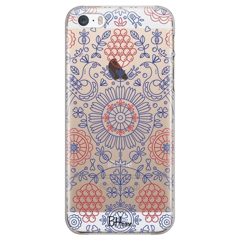 Blue Red Ornaments Coque iPhone SE/5S