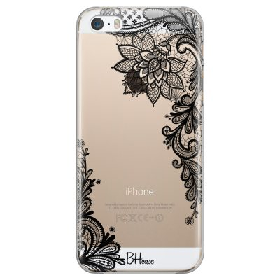 Flowers Black Coque iPhone SE/5S