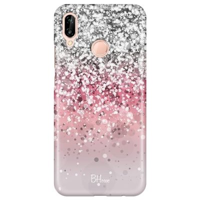Glitter Pink Silver Coque Huawei P20 Lite
