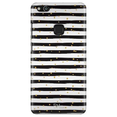 Stripes Gold Black White Coque Huawei P10 Lite