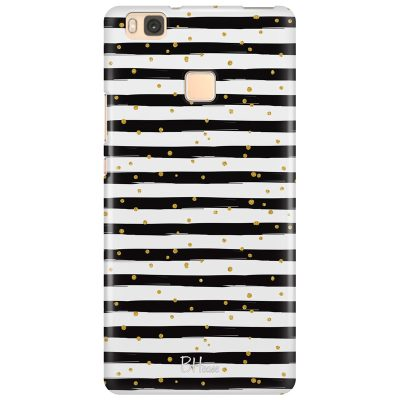 Stripes Gold Black White Coque Huawei P9 Lite