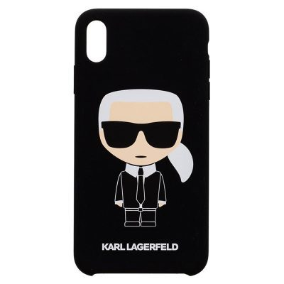 Karl Lagerfeld Iconic Full Body Silicone Black Coque iPhone XS Max