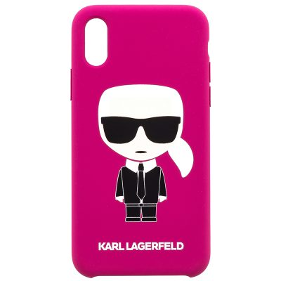 Karl Lagerfeld Iconic Full Body Silicone Fushia Coque iPhone X/XS