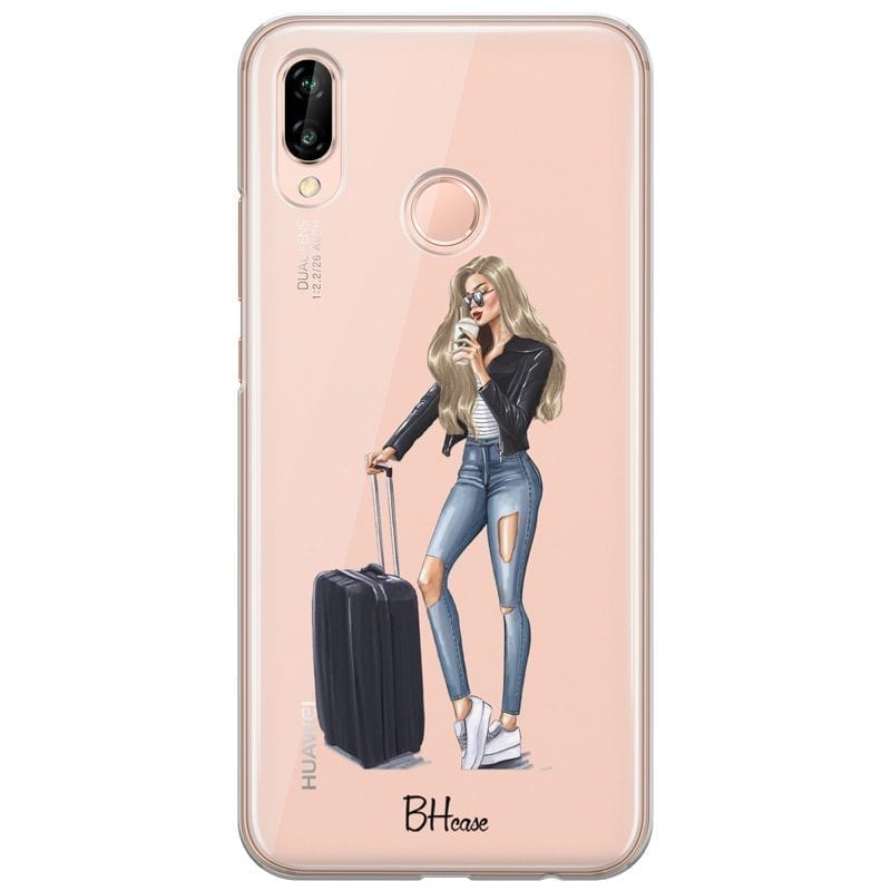 Woman Blonde With Baggage Coque Huawei P20 Lite