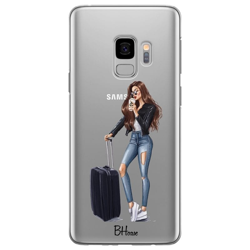 Woman Brunette With Baggage Coque Samsung S9