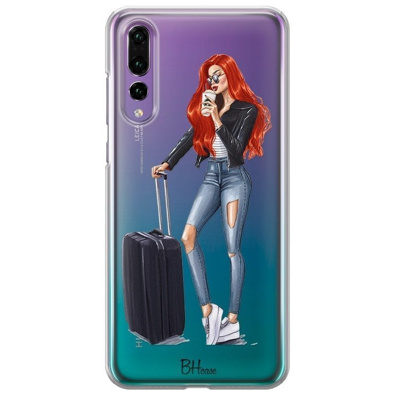 Woman Redhead With Baggage Coque Huawei P20 Pro