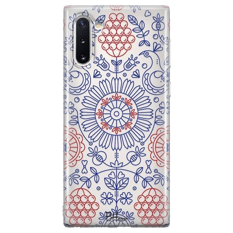 Blue Red Ornaments Coque Samsung Note 10