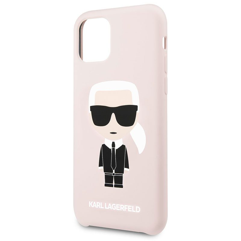 Karl Lagerfeld Iconic Full Body Silicone Pink Coque iPhone 11