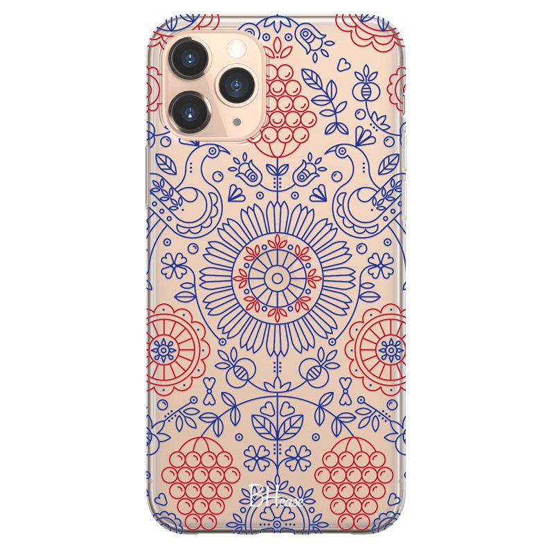 Blue Red Ornaments Coque iPhone 11 Pro