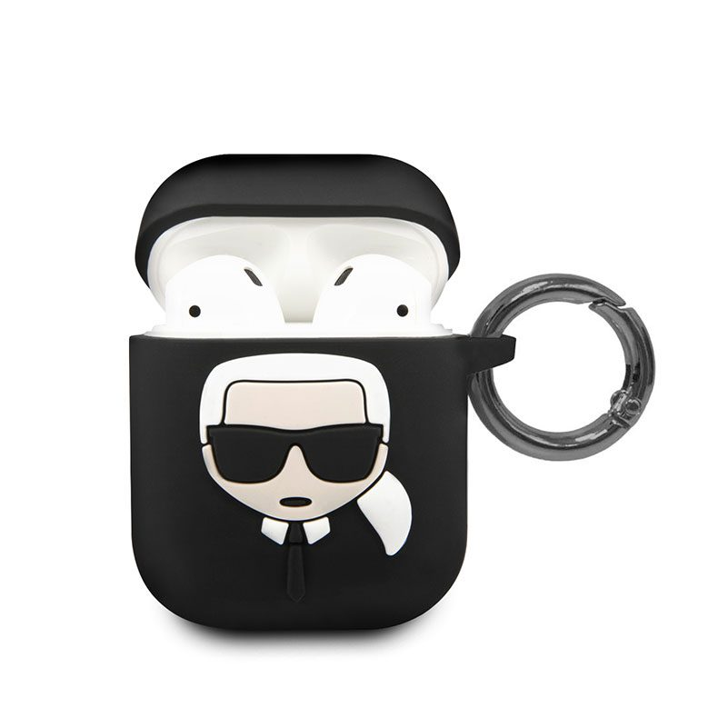 Karl Lagerfeld Head AirPods Silicone Case Black