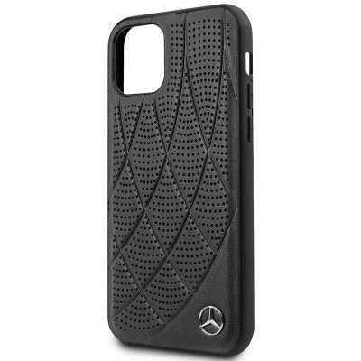 Mercedes Perforated Leather Black Coque iPhone 11