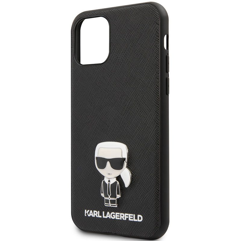 Karl Lagerfeld Saffiano Iconic Black Coque iPhone 11