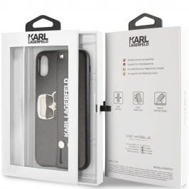 Karl Lagerfeld Head Hand Strap Black Coque iPhone X/XS