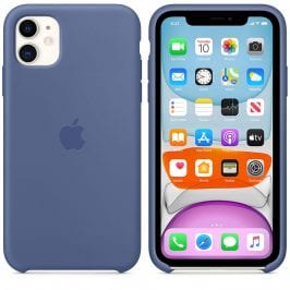 Apple Linen Blue Silicone Coque iPhone 11