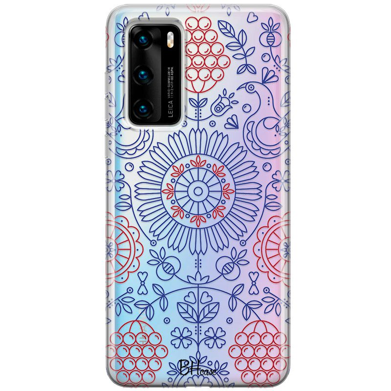 Blue Red Ornaments Coque Huawei P40