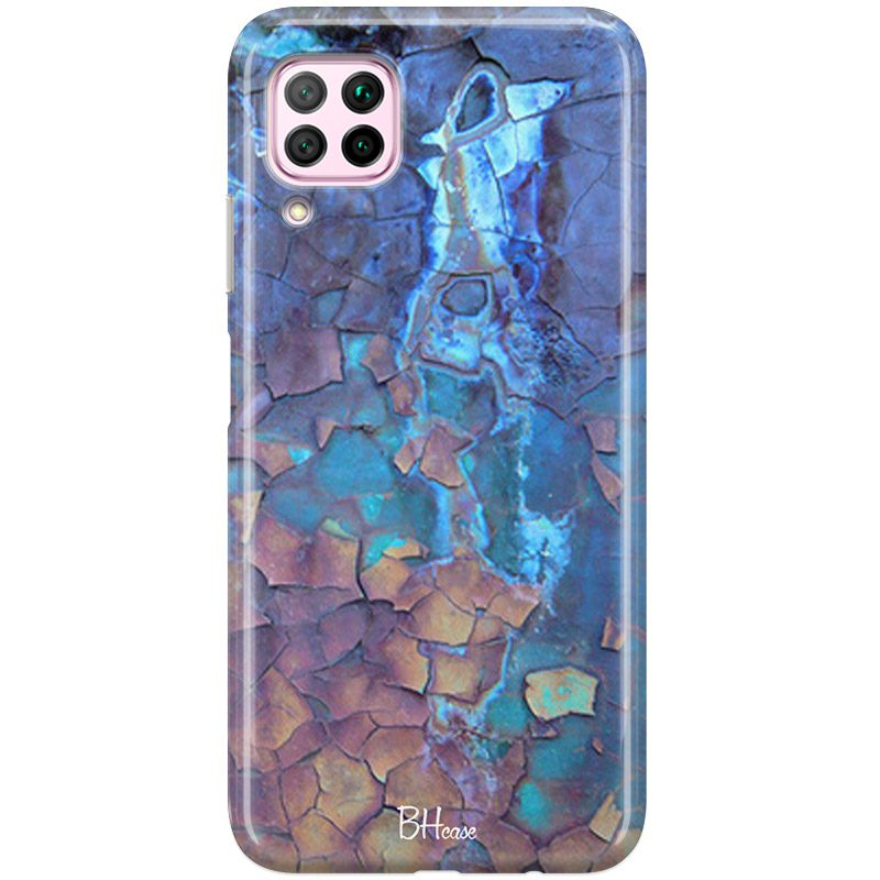 Stone Cracked Blue Coque Huawei P40 Lite