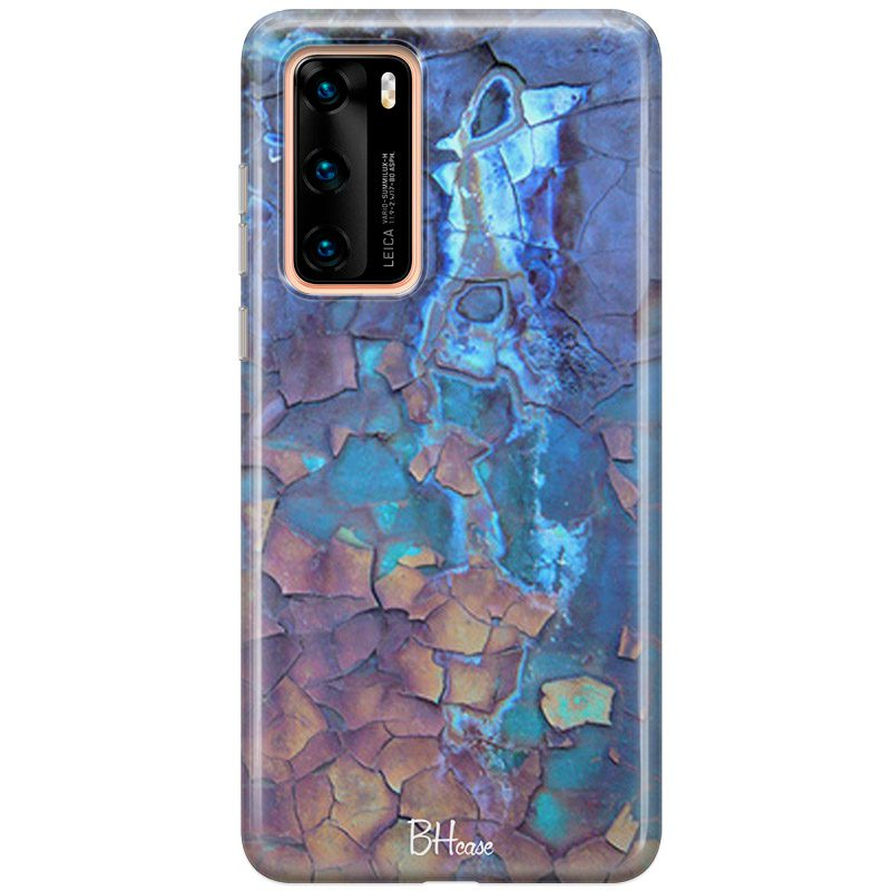 Stone Cracked Blue Coque Huawei P40