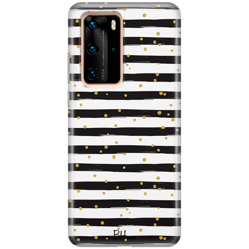 Stripes Gold Black White Coque Huawei P40 Pro