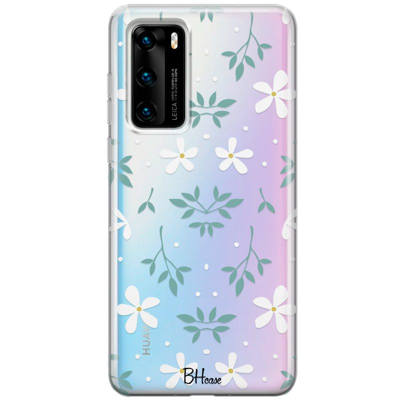 White Floral Coque Huawei P40