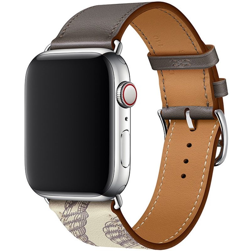 Leather Strap Apple Watch 42/44mm Etain Beton