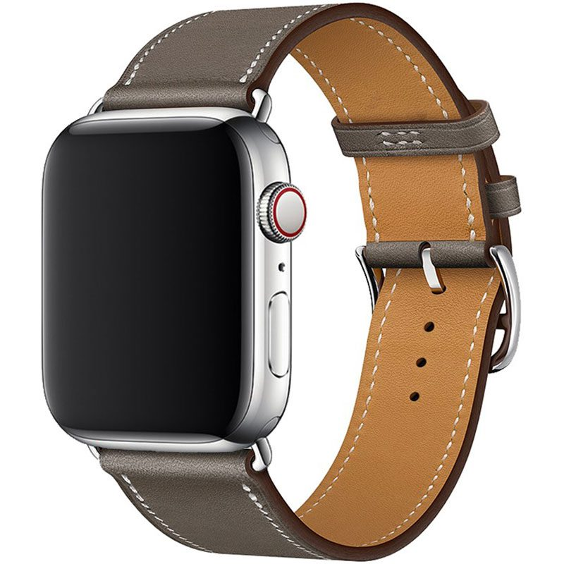 Leather Strap Apple Watch 45/44/42mm Gray