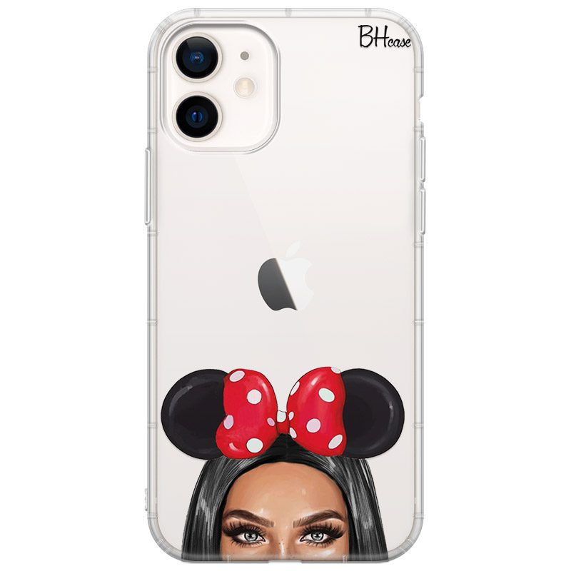 Black Haired Girl With Ribbon Coque iPhone 12 Mini