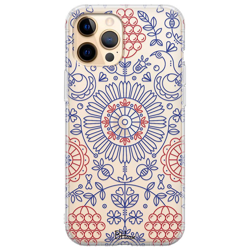 Blue Red Ornaments Coque iPhone 12 Pro Max