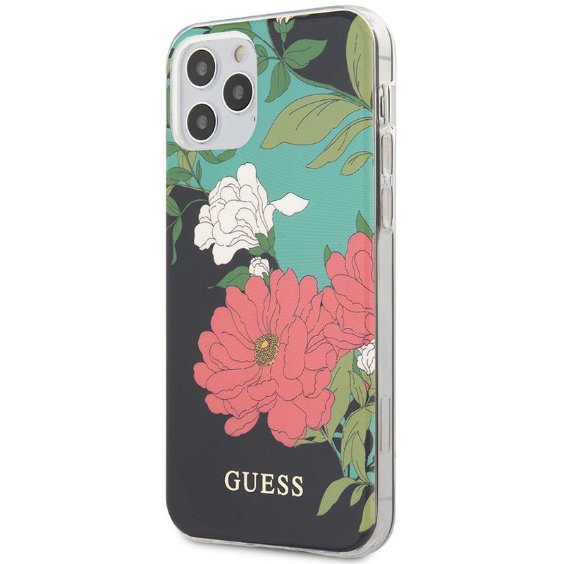 Guess TPU Flower Black Coque iPhone 12/12 Pro