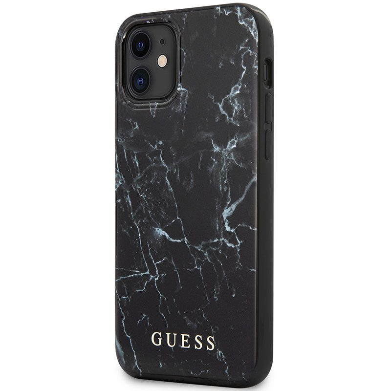Guess TPU Marble Black Coque iPhone 12 Mini