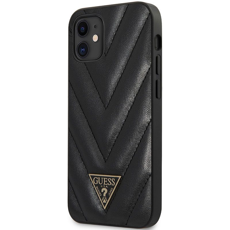 Guess V Quilted Black Coque iPhone 12 Mini