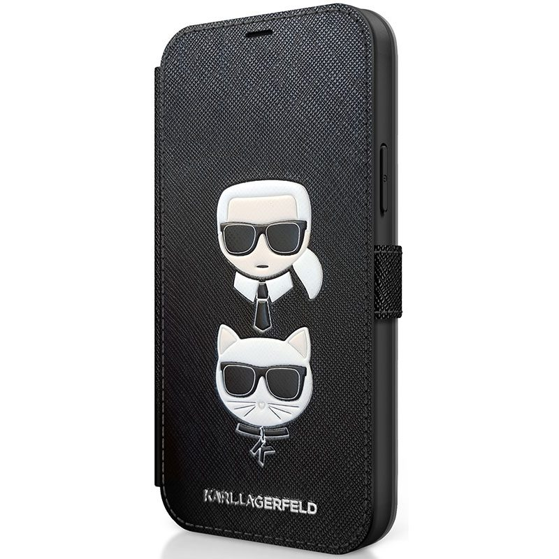 Karl Lagerfeld Saffiano K&C Heads Book Black Coque iPhone 12 Mini
