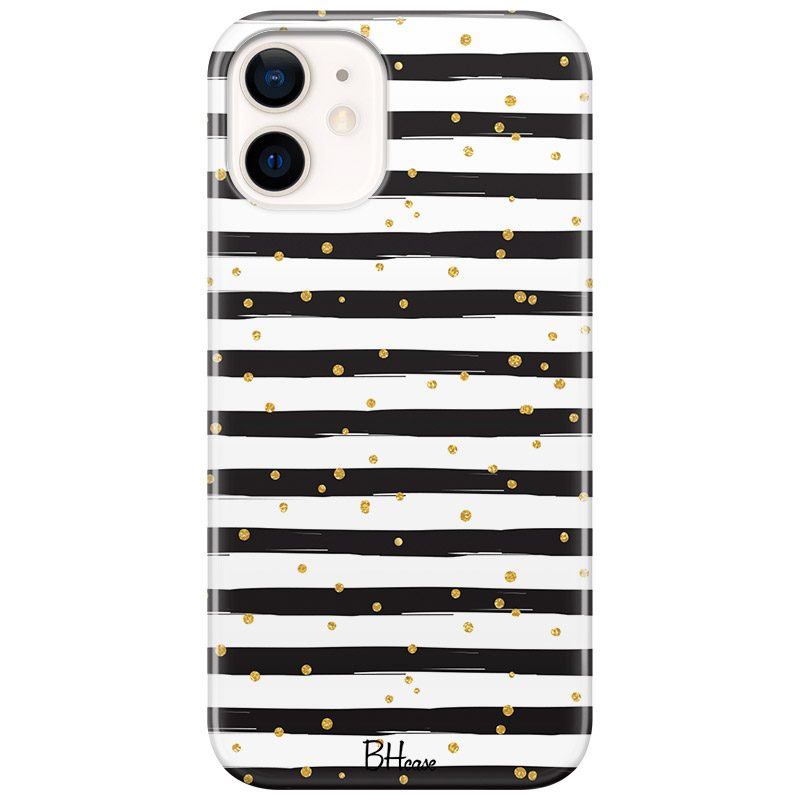 Stripes Gold Black White Coque iPhone 12 Mini