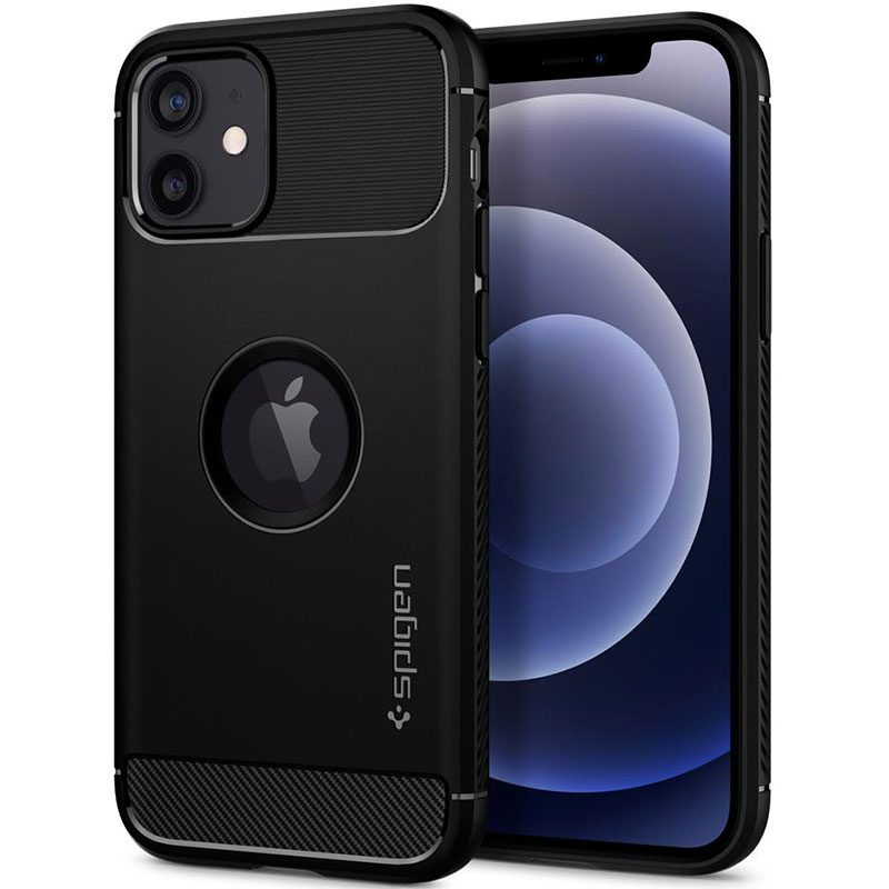 Spigen Rugged Armor Matte Black Coque iPhone 12/12 Pro