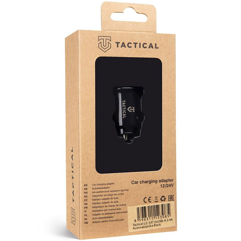 Tactical 2xUSB-A 2.4A Car Charger Black