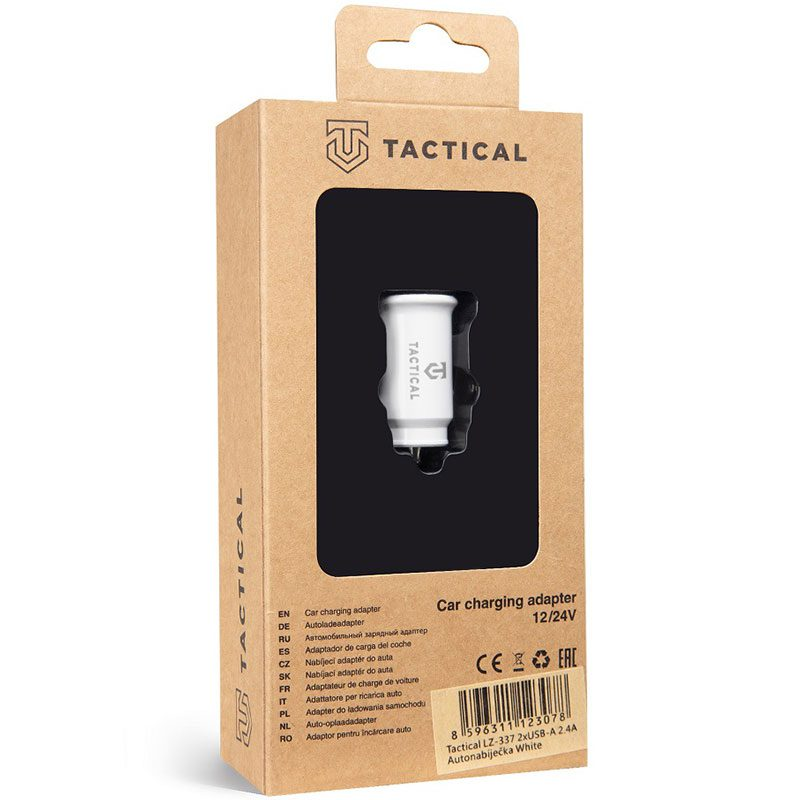 Tactical 2xUSB-A 2.4A Car Charger White