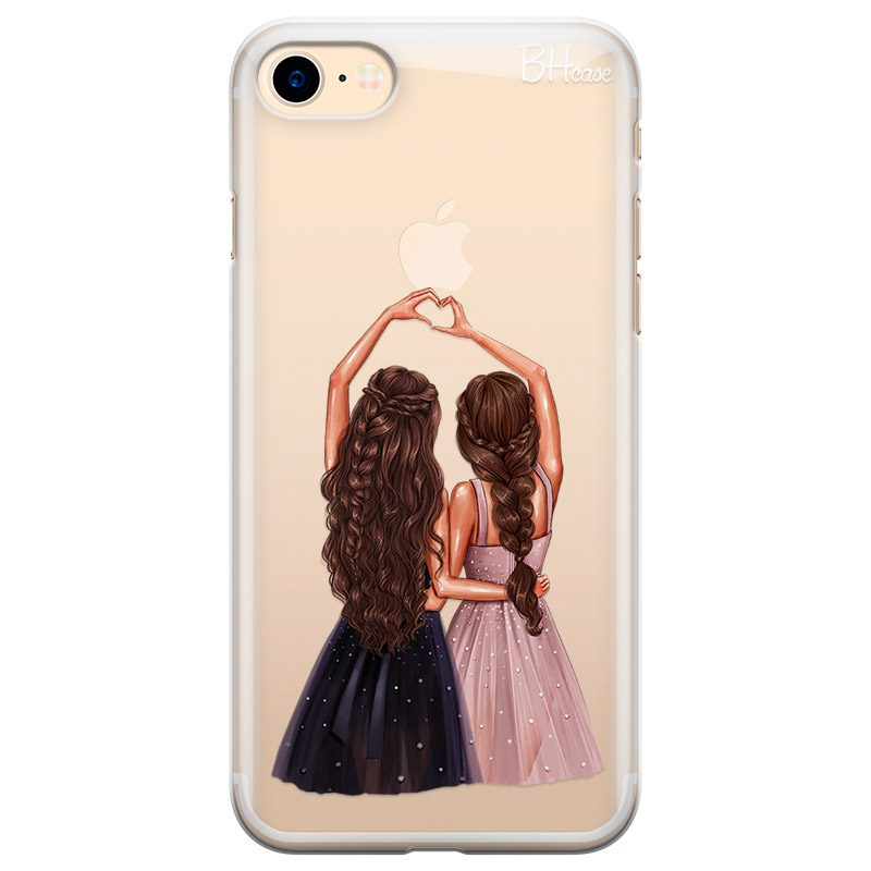 Besties Brown Hair Coque iPhone 8/7/SE 2 2020