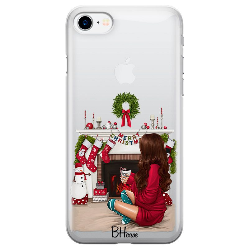 Christmas Day Brown Hair Coque iPhone 8/7/SE 2 2020