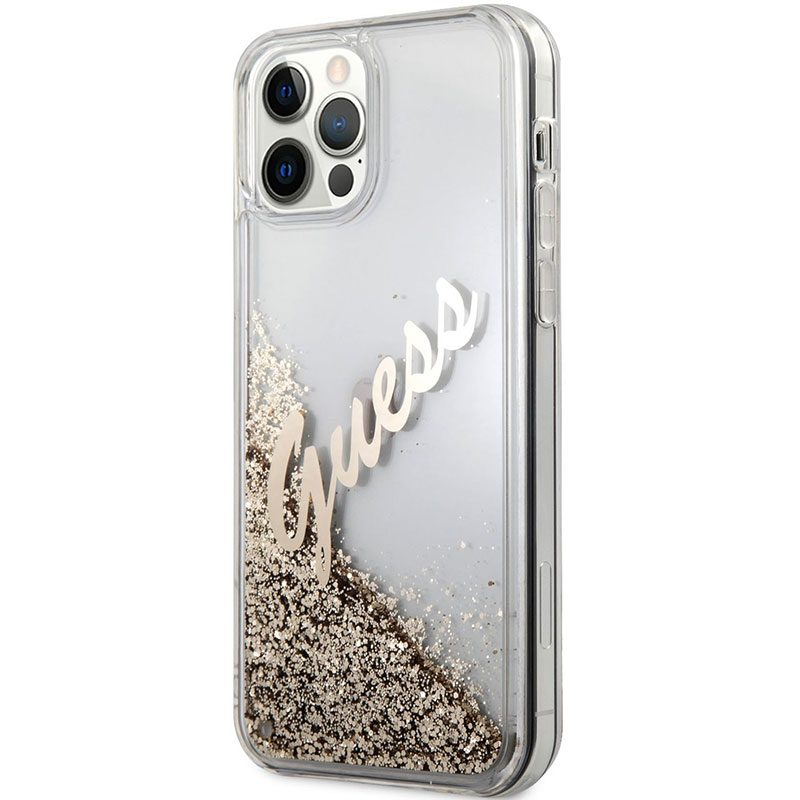 Guess Silicone Liquid Glitter Vintage Gold Coque iPhone 12/12 Pro