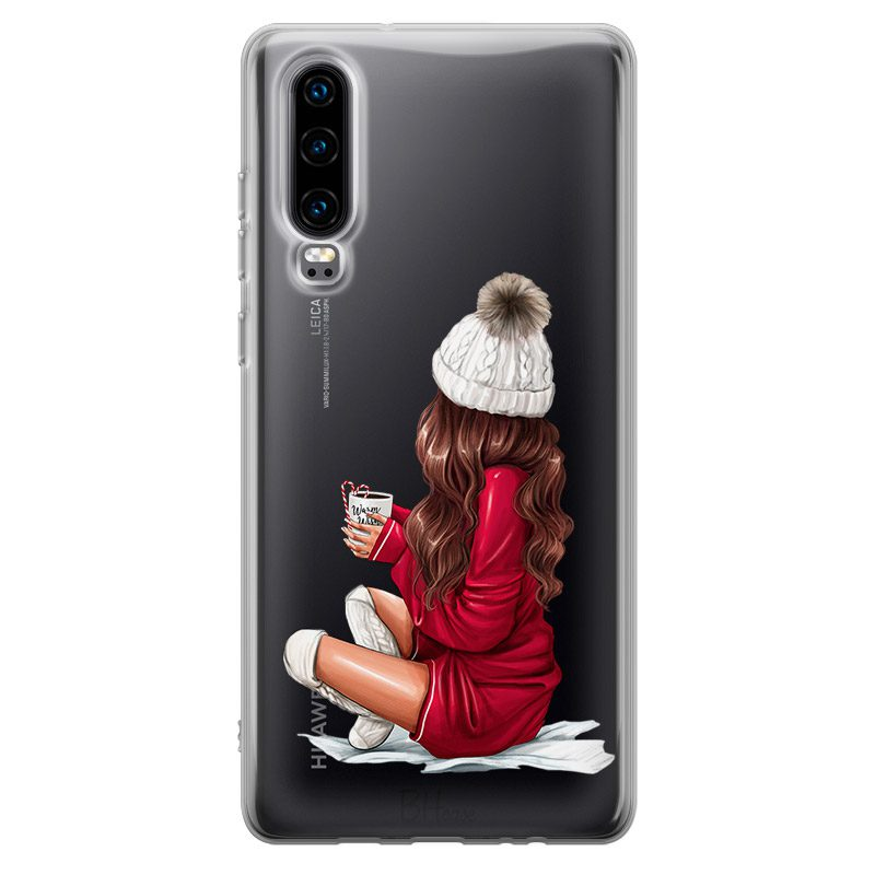Winter Chill Brown Hair Coque Huawei P30