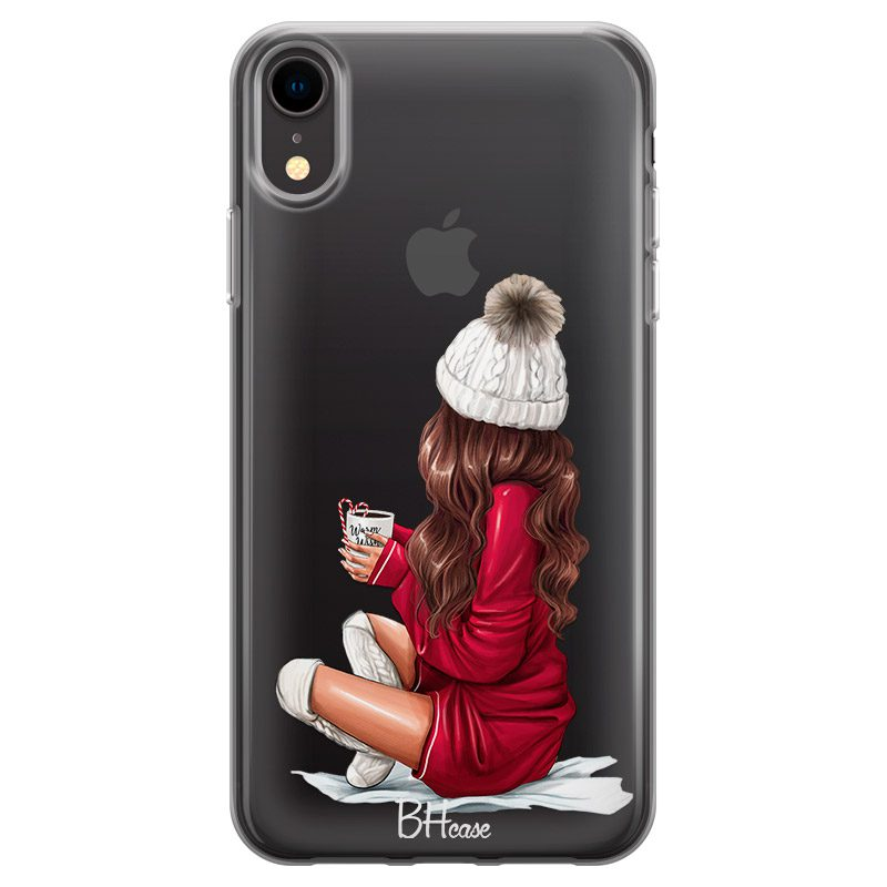 Winter Chill Brown Hair Coque iPhone XR